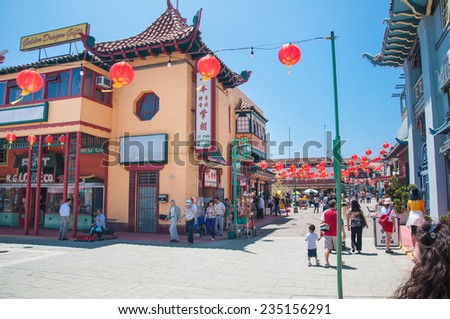 LOS ANGELES, CA - June 05,2010:  The colorful Chinatown on June 05, 2010. Officially Chinatown was founded June 25, 1938 in Los Angeles - stock photo