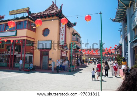 LOS ANGELES, CA - JUNE 05:  The colorful Chinatown on June 05, 2010. Officially Chinatown was founded June 25, 1938 in Los Angeles - stock photo