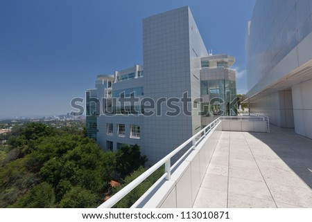 LOS ANGELES, CA - JUNE 16, 2012:  The Getty Center attracts more than 1.3 million visitors annually to it's hilltop location in Los Angeles California; June 16, 2012. - stock photo