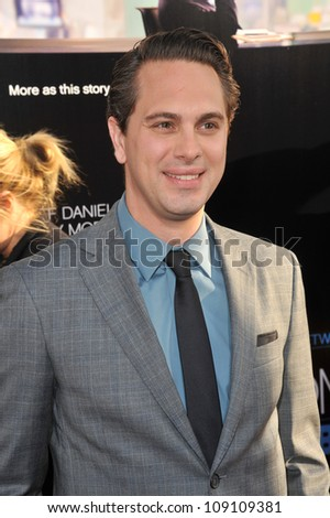 "LOS ANGELES, CA - JUNE 21, 2012: Thomas Sadoski at the Los Angeles premiere for HBO's new series ""The Newsroom"" at the Cinerama Dome, Hollywood."