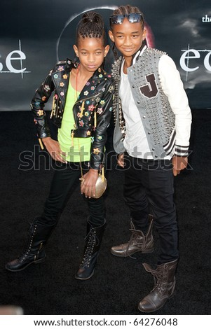 LOS ANGELES, CA. - JUNE 24: Willow Smith (L) and Jaden Smith (R) attend The Twilight Saga Eclipse Los Angeles premiere on June 24th, 2010 at The Nokia Theater in Los Angeles, Ca. - stock photo