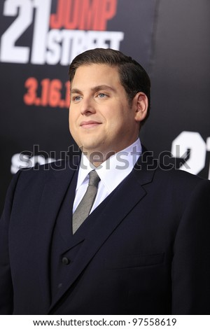 LOS ANGELES, CA - MAR 13: Jonah Hill at the premiere of Columbia Pictures '21 Jump Street' held at Grauman's Chinese Theater on March 13, 2012 in Los Angeles, California - stock photo