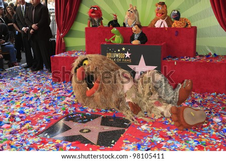 LOS ANGELES, CA - MAR 20: Sweetums, Muppets at a ceremony where The Muppets are honored with 2,466th Star on the Hollywood Walk of Fame on March 20, 2012 in Los Angeles, California - stock photo