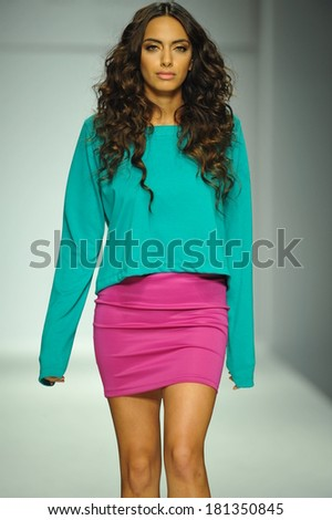 LOS ANGELES, CA - MARCH 10: A model walks runway at R. Michelle fashion show during Style Fashion Week Fall 2014 at The Live Arena on March 10, 2014 in Los Angeles  - stock photo
