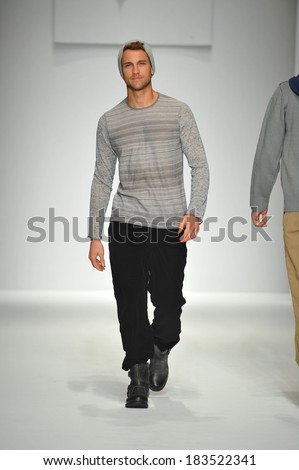 Los Angeles, CA - MARCH 11: A model walks the runway at Consort 62 show during Style Fashion Week Fall 2014 at The LA Live Event Deck on March 11, 2014 in LA  - stock photo