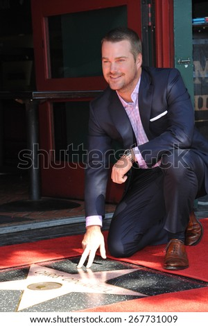 LOS ANGELES, CA - MARCH 5, 2015: Actor Chris O'Donnell on Hollywood Boulevard where he was honored with the 2,544th star on the Walk of Fame.  - stock photo