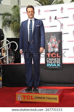 LOS ANGELES, CA - MARCH 4, 2015: Actor Vince Vaughn at the TCL Chinese Theatre, Hollywood, where he had his hand and footprints set in cement.  - stock photo