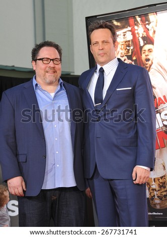 LOS ANGELES, CA - MARCH 4, 2015: Actor Vince Vaughn & Jon Favreau (left) at the TCL Chinese Theatre, Hollywood, where he had his hand and footprints set in cement.  - stock photo