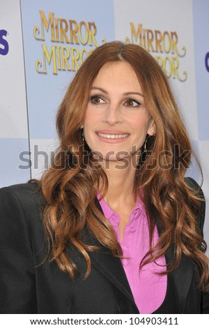 """LOS ANGELES, CA - MARCH 17, 2012: Actress Julia Roberts at the world premiere of her new movie """"Mirror Mirror"""" at Grauman's Chinese Theatre, Hollywood on March 17, 2012  Los Angeles, CA - stock photo"""