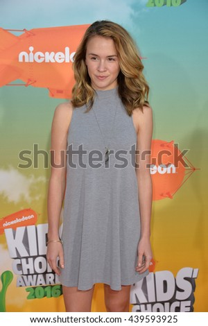 LOS ANGELES, CA - MARCH 12, 2016: Actress Sixx Orange at the 2016 Kids' Choice Awards at The Forum, Los Angeles.