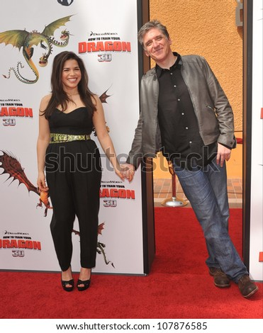 "LOS ANGELES, CA - MARCH 21, 2010: America Ferrera & Craig Ferguson at the Los Angeles premiere of Dreamworks Animation's ""How To Train Your Dragon"" at Gibson Amphitheatre, Universal Studios, Hollywood - stock photo"