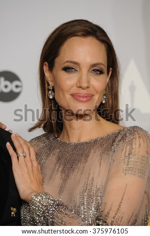 LOS ANGELES, CA - MARCH 2, 2014: Angelina Jolie at the 86th Annual Academy Awards at the Dolby Theatre, Hollywood.