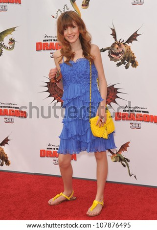 "LOS ANGELES, CA - MARCH 21, 2010: Bella Thorne at the Los Angeles premiere of Dreamworks Animation's ""How To Train Your Dragon"" at Gibson Amphitheatre, Universal Studios, Hollywood. - stock photo"