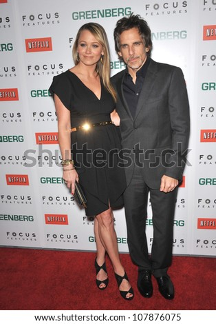 "LOS ANGELES, CA - MARCH 18, 2010: Ben Stiller & wife Christine Taylor at the Los Angeles premiere of his new movie ""Greenberg"" at the Arclight Theatre, Hollywood."
