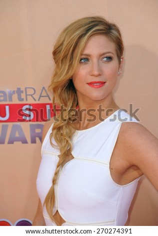 LOS ANGELES, CA - MARCH 29, 2015: Brittany Snow at the 2015 iHeart Radio Music Awards at the Shrine Auditorium.  - stock photo