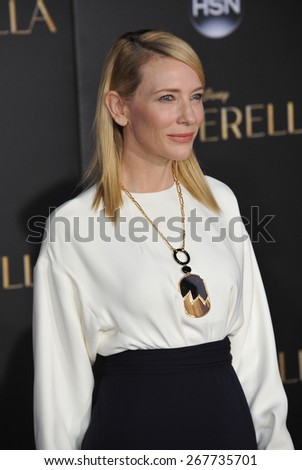 "LOS ANGELES, CA - MARCH 1, 2015: Cate Blanchett at the world premiere of her movie ""Cinderella"" at the El Capitan Theatre, Hollywood.  - stock photo"