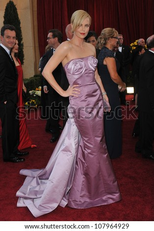 LOS ANGELES, CA - MARCH 7, 2010: Charlize Theron at the 82nd Annual Academy Awards at the Kodak Theatre, Hollywood. - stock photo