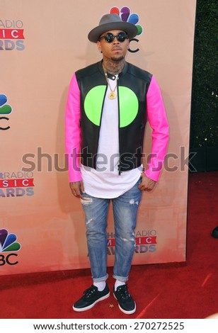 LOS ANGELES, CA - MARCH 29, 2015: Chris Brown at the 2015 iHeart Radio Music Awards at the Shrine Auditorium.  - stock photo