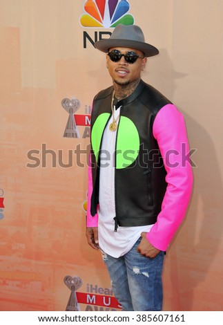 LOS ANGELES, CA - MARCH 29, 2015: Chris Brown at the 2015 iHeart Radio Music Awards at the Shrine Auditorium.
