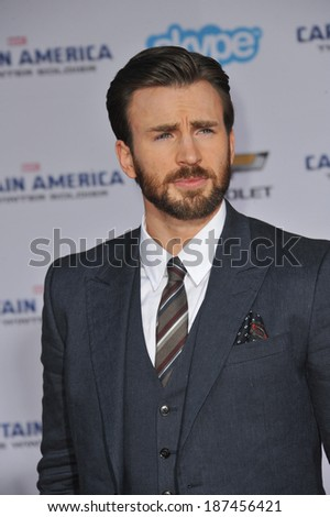 """LOS ANGELES, CA - MARCH 13, 2014: Chris Evans at the world premiere of his movie """"Captain America: The Winter Soldier"""" at the El Capitan Theatre, Hollywood.  - stock photo"""