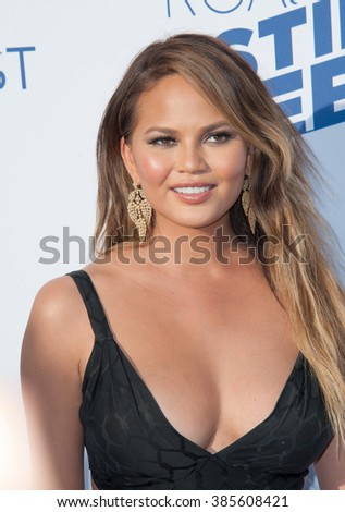 LOS ANGELES, CA - MARCH 14, 2015: Chrissy Teigen at the Comedy Central Roast of Justin Bieber at Sony Studios, Culver City. - stock photo
