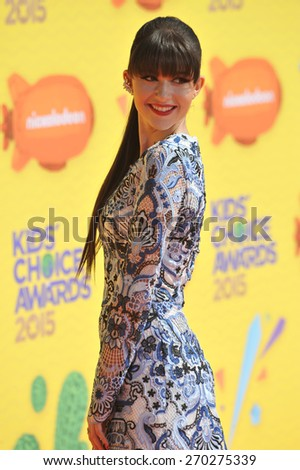 LOS ANGELES, CA - MARCH 28, 2015: Elizabeth Elias at the 2015 Kids Choice Awards at The Forum, Los Angeles.  - stock photo