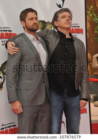 "LOS ANGELES, CA - MARCH 21, 2010: Gerard Butler (left) & Craig Ferguson at the premiere of Dreamworks Animation's ""How To Train Your Dragon"" at Gibson Amphitheatre, Universal Studios, Hollywood. - stock photo"