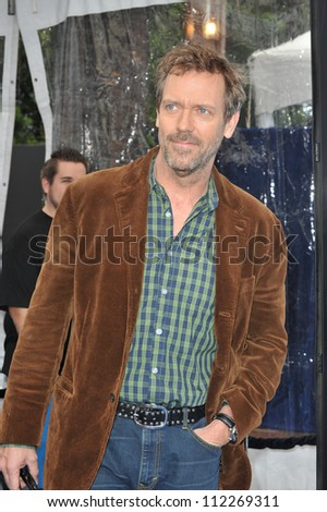 "LOS ANGELES, CA - MARCH 22, 2009: Hugh Laurie at the Los Angeles premiere of his new movie ""Monsters vs. Aliens"" at the Gibson Amphitheatre, Universal Studios - stock photo"