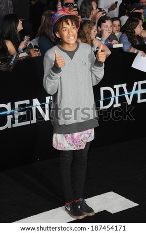 """LOS ANGELES, CA - MARCH 18, 2014: Jaden Smith at the Los Angeles premiere of """"Divergent"""" at the Regency Bruin Theatre, Westwood.  - stock photo"""