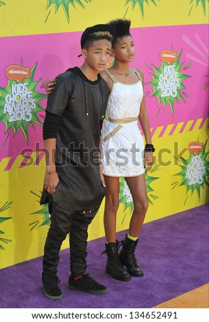 LOS ANGELES, CA - MARCH 23, 2013: Jaden Smith & Willow Smith, children of Will Smith & Jada Pinkett Smith, at Nickelodeon's 26th Annual Kids' Choice Awards at the Galen Centre, Los Angeles. - stock photo