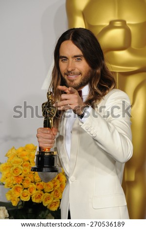 LOS ANGELES, CA - MARCH 2, 2014: Jared Leto at the 86th Annual Academy Awards at the Dolby Theatre, Hollywood.  - stock photo