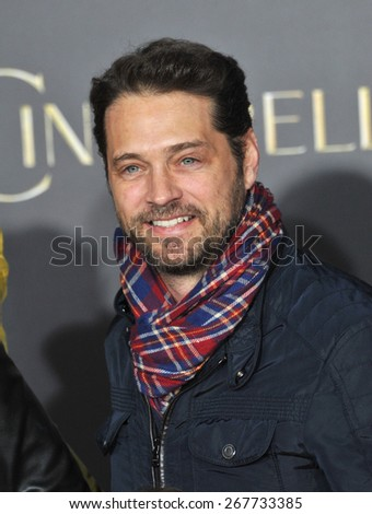 "LOS ANGELES, CA - MARCH 1, 2015: Jason Priestley at the world premiere of ""Cinderella"" at the El Capitan Theatre, Hollywood.  - stock photo"