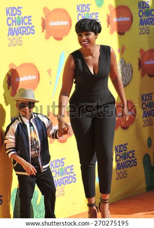 LOS ANGELES, CA - MARCH 28, 2015: Jennifer Hudson & son David Daniel Otunga Jr. at the 2015 Kids Choice Awards at The Forum, Los Angeles.  - stock photo
