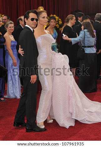 LOS ANGELES, CA - MARCH 7, 2010: Jennifer Lopez & Marc Anthony at the 82nd Annual Academy Awards at the Kodak Theatre, Hollywood. - stock photo