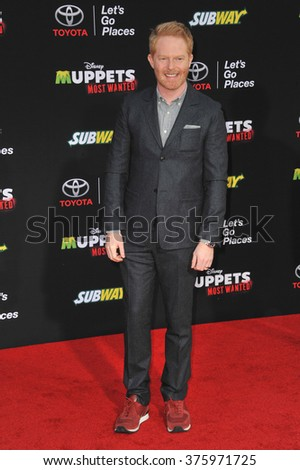 "LOS ANGELES, CA - MARCH 11, 2014: Jesse Tyler Ferguson at the world premiere of Disney's ""Muppets Most Wanted"" at the El Capitan Theatre, Hollywood."