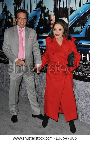 "LOS ANGELES, CA - MARCH 22, 2011: Joan Collins & husband Percy Gibson at the premiere of ""His Way"", about  Jerry Weintraub at Paramount Studios, Hollywood. March 22, 2011  Los Angeles, CA"