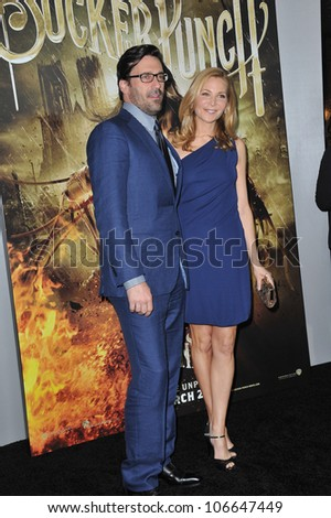"""LOS ANGELES, CA - MARCH 23, 2011: Jon Hamm & Jennifer Westfeldt at the Los Angeles premiere of his new movie """"Sucker Punch"""" at Grauman's Chinese Theatre, Hollywood. March 23, 2011  Los Angeles, CA - stock photo"""