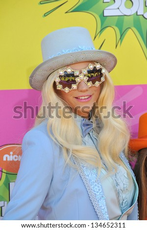 LOS ANGELES, CA - MARCH 23, 2013: Ke$ha at Nickelodeon's 26th Annual Kids' Choice Awards at the Galen Centre, Los Angeles.