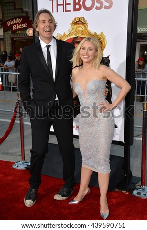 """LOS ANGELES, CA - MARCH 28, 2016: Kristen Bell & husband Dax Shepard at the premiere for her movie """"The Boss"""" at the Regency Village Theatre, Westwood. - stock photo"""