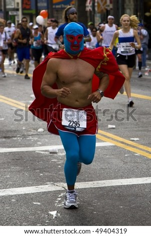 LOS ANGELES, CA - MARCH 22: luchador running at 2010 LA marathon on March 22, 2010 in Los Angeles, California. - stock photo