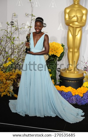 LOS ANGELES, CA - MARCH 2, 2014: Lupita Nyongo at the 86th Annual Academy Awards at the Dolby Theatre, Hollywood.