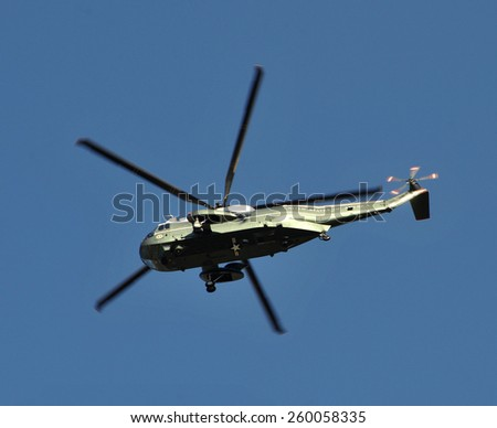 LOS ANGELES, CA - MARCH 12, 2015: Marine One VH-3D Sea King helicopter, carrying US President Barack Obama from Los Angeles International Airport to Burbank Airport.