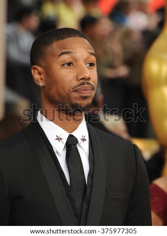 LOS ANGELES, CA - MARCH 2, 2014: Michael B. Jordan at the 86th Annual Academy Awards at the Dolby Theatre, Hollywood.