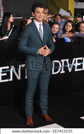 "LOS ANGELES, CA - MARCH 18, 2014: Miles Teller at the Los Angeles premiere of his movie ""Divergent"" at the Regency Bruin Theatre, Westwood."