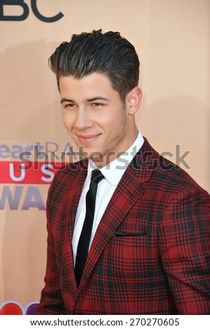 LOS ANGELES, CA - MARCH 29, 2015: Nick Jonas at the 2015 iHeart Radio Music Awards at the Shrine Auditorium.  - stock photo