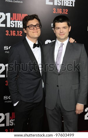 LOS ANGELES, CA - MARCH 13: Phil Lord, Chris Miller at the premiere of Columbia Pictures '21 Jump Street' held at Grauman's Chinese Theater on March 13, 2012 in Los Angeles, California - stock photo