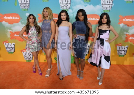LOS ANGELES, CA - MARCH 12, 2016: Pop group Fifth Harmony at the 2016 Kids' Choice Awards at The Forum, Los Angeles.
