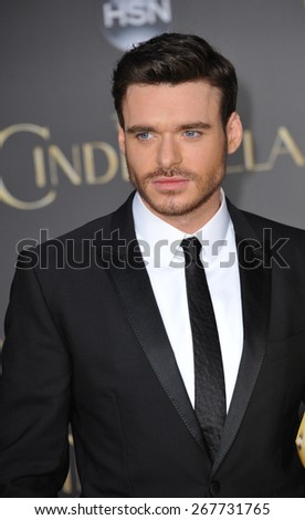 "LOS ANGELES, CA - MARCH 1, 2015: Richard Madden at the world premiere of his movie ""Cinderella"" at the El Capitan Theatre, Hollywood."