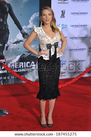 "LOS ANGELES, CA - MARCH 13, 2014: Scarlett Johansson at the world premiere of her movie ""Captain America: The Winter Soldier"" at the El Capitan Theatre, Hollywood.  - stock photo"