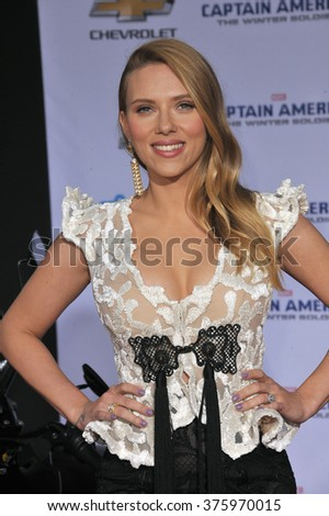 "LOS ANGELES, CA - MARCH 13, 2014: Scarlett Johansson at the world premiere of her movie ""Captain America: The Winter Soldier"" at the El Capitan Theatre, Hollywood."
